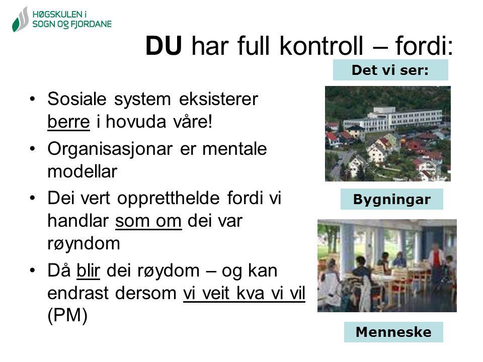 DU har full kontroll – fordi: Bygningar Menneske Det vi ser: Sosiale system eksisterer berre i hovuda våre! Organisasjonar er mentale modellar Dei ver