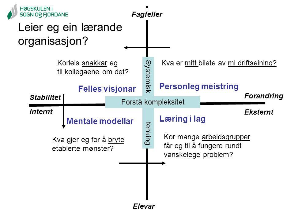 Stabilitet Forandring Elevar Fagfeller Internt Eksternt Systemisk tenking Personleg meistring Læring i lag Mentale modellar Felles visjonar Forstå kom