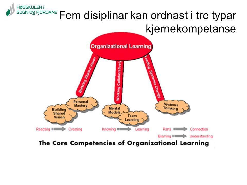 Fem disiplinar kan ordnast i tre typar kjernekompetanse