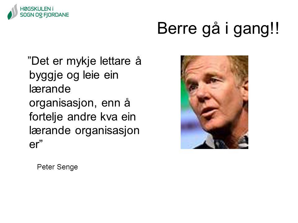 """Berre gå i gang!! """"Det er mykje lettare å byggje og leie ein lærande organisasjon, enn å fortelje andre kva ein lærande organisasjon er"""" Peter Senge"""