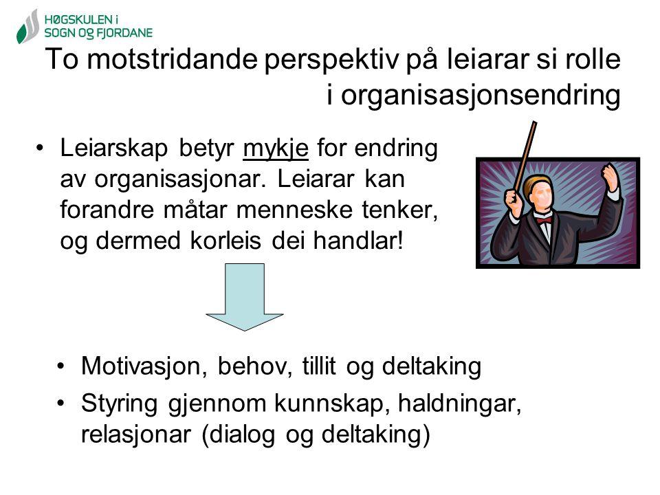 To motstridande perspektiv på leiarar si rolle i organisasjonsendring Leiarskap betyr mykje for endring av organisasjonar. Leiarar kan forandre måtar