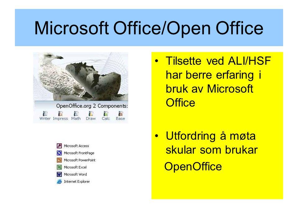 Microsoft Office/Open Office Tilsette ved ALI/HSF har berre erfaring i bruk av Microsoft Office Utfordring å møta skular som brukar OpenOffice