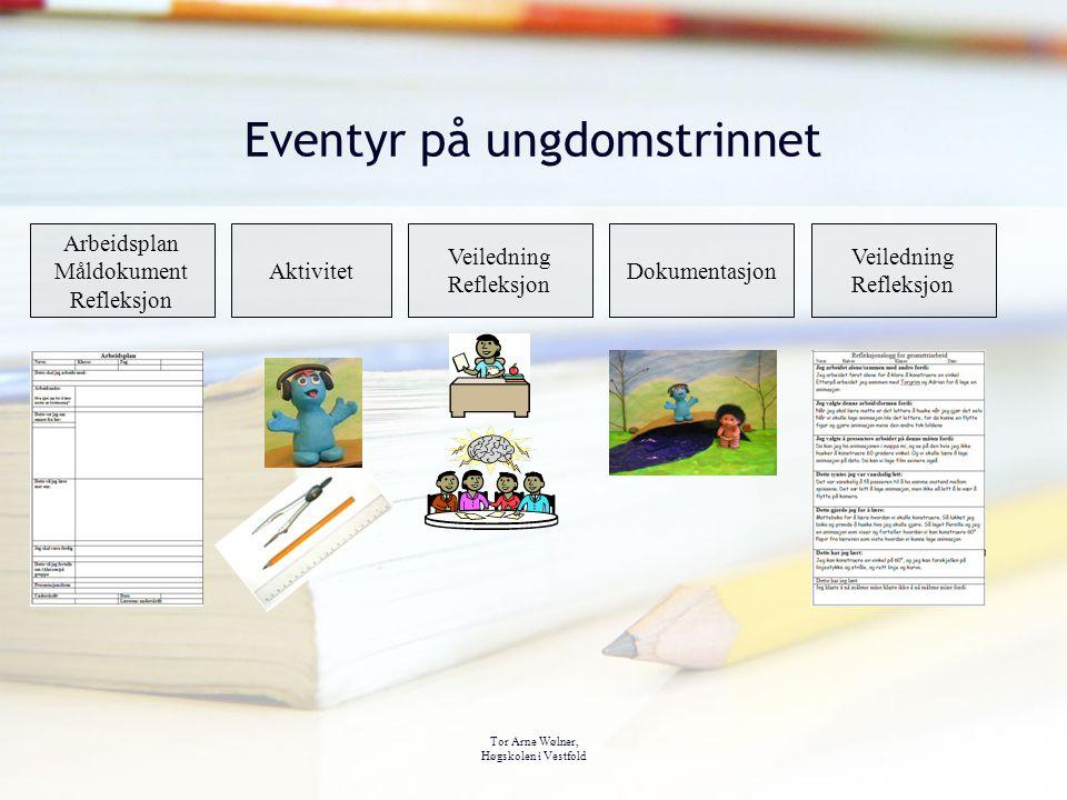 Tor Arne Wølner, Høgskolen i Vestfold Eventyr på ungdomstrinnet Arbeidsplan Måldokument Refleksjon Aktivitet Veiledning Refleksjon Dokumentasjon Veile