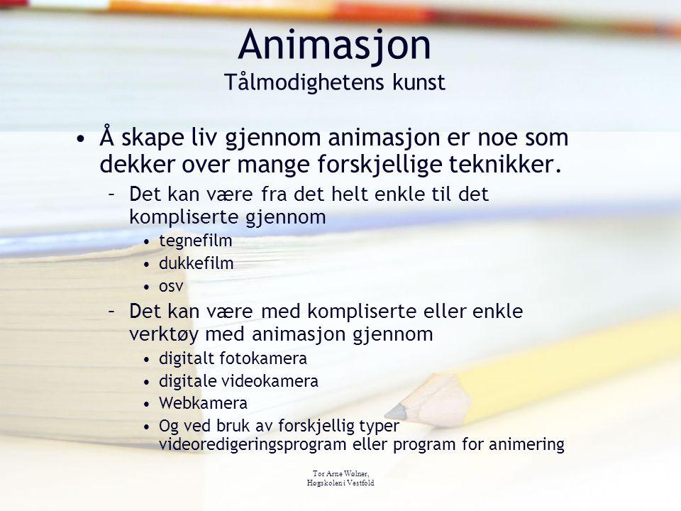 Tor Arne Wølner, Høgskolen i Vestfold Animasjon Tålmodighetens kunst Å skape liv gjennom animasjon er noe som dekker over mange forskjellige teknikker