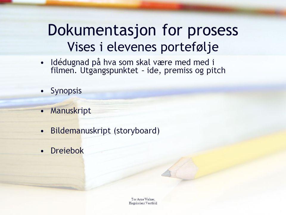 Tor Arne Wølner, Høgskolen i Vestfold Dokumentasjon for prosess Vises i elevenes portefølje Idédugnad på hva som skal være med med i filmen. Utgangspu