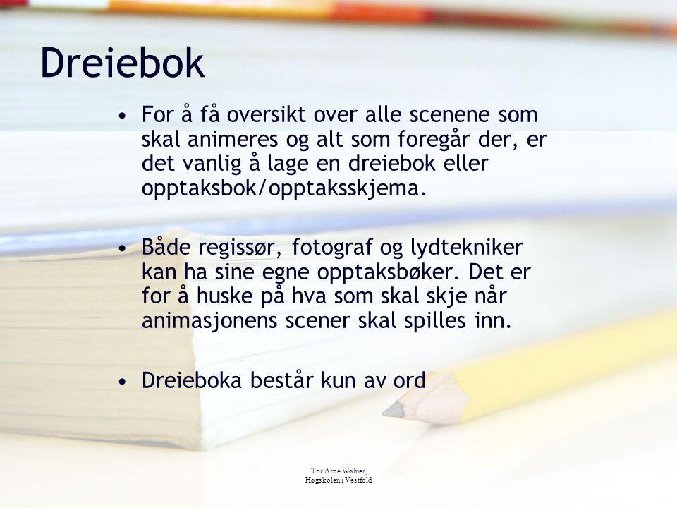 Tor Arne Wølner, Høgskolen i Vestfold Dreiebok For å få oversikt over alle scenene som skal animeres og alt som foregår der, er det vanlig å lage en d