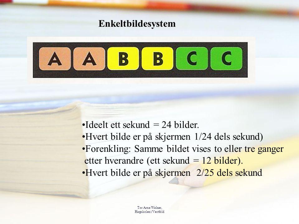 Tor Arne Wølner, Høgskolen i Vestfold Enkeltbildesystem Ideelt ett sekund = 24 bilder. Hvert bilde er på skjermen 1/24 dels sekund) Forenkling: Samme