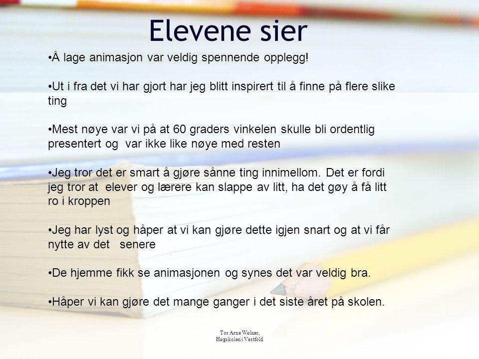 Tor Arne Wølner, Høgskolen i Vestfold Elevene sier Å lage animasjon var veldig spennende opplegg! Ut i fra det vi har gjort har jeg blitt inspirert ti