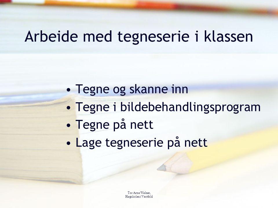 Tor Arne Wølner, Høgskolen i Vestfold Arbeide med tegneserie i klassen Tegne og skanne inn Tegne i bildebehandlingsprogram Tegne på nett Lage tegneser