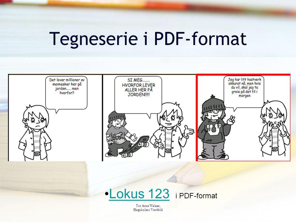 Tor Arne Wølner, Høgskolen i Vestfold Tegneserie i PDF-format Lokus 123 i PDF-formatLokus 123