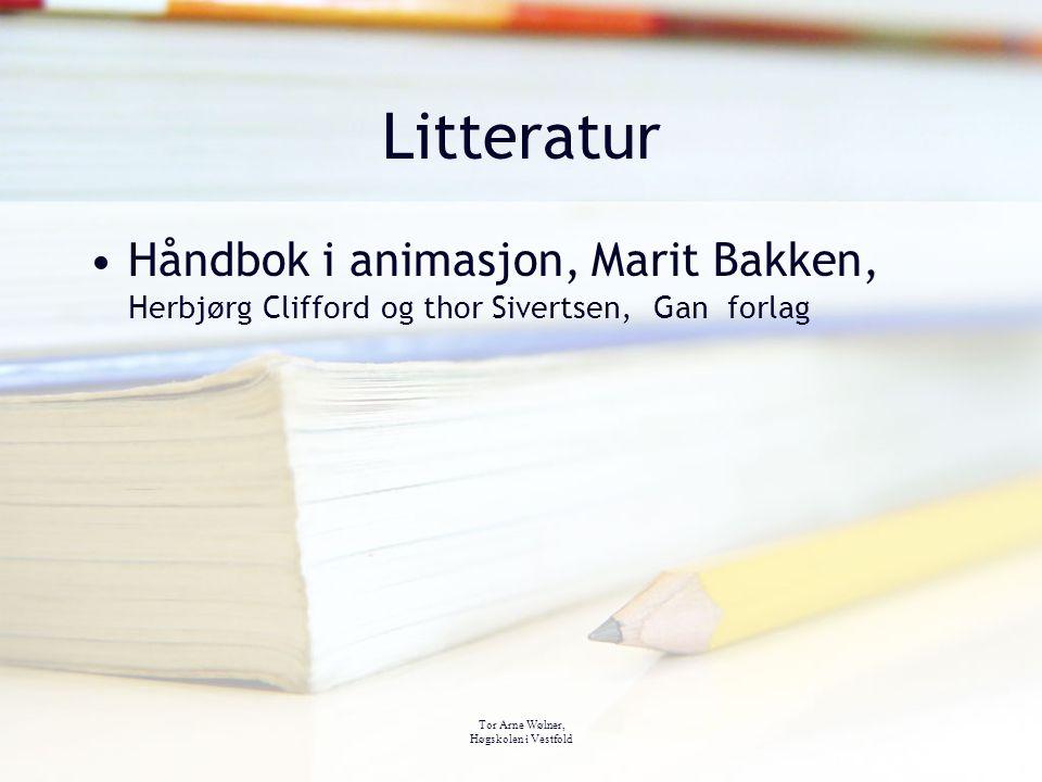 Tor Arne Wølner, Høgskolen i Vestfold Litteratur Håndbok i animasjon, Marit Bakken, Herbjørg Clifford og thor Sivertsen, Gan forlag