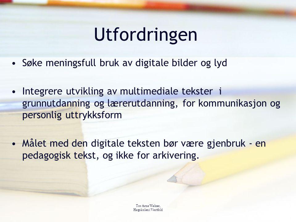 Tor Arne Wølner, Høgskolen i Vestfold Utfordringen Søke meningsfull bruk av digitale bilder og lyd Integrere utvikling av multimediale tekster i grunn