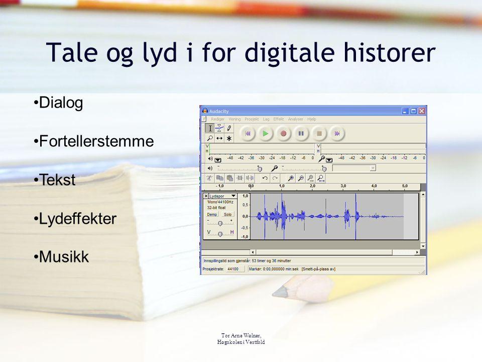 Tor Arne Wølner, Høgskolen i Vestfold Tale og lyd i for digitale historer Dialog Fortellerstemme Tekst Lydeffekter Musikk