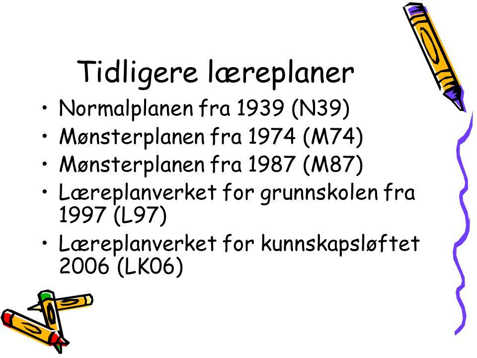 Tidligere læreplaner Normalplanen fra 1939 (N39) Mønsterplanen fra 1974 (M74) Mønsterplanen fra 1987 (M87) Læreplanverket for grunnskolen fra 1997 (L97) Læreplanverket for kunnskapsløftet 2006 (LK06)