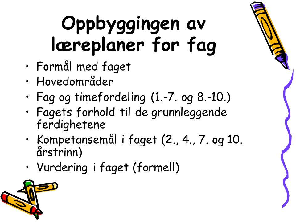 Oppbyggingen av læreplaner for fag Formål med faget Hovedområder Fag og timefordeling (1.-7.