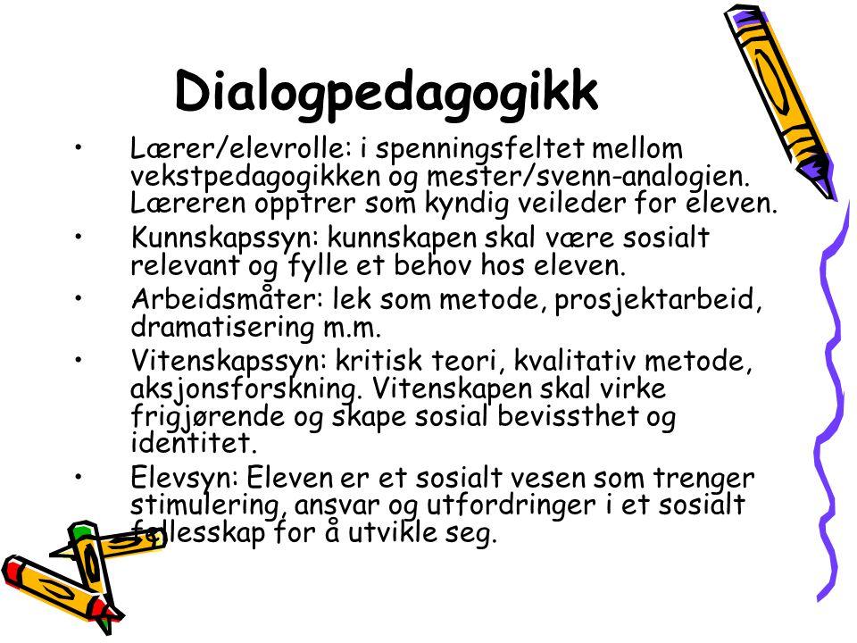 Dialogpedagogikk Lærer/elevrolle: i spenningsfeltet mellom vekstpedagogikken og mester/svenn-analogien.