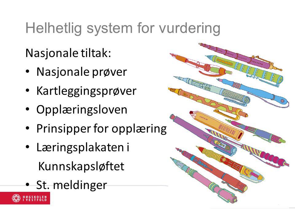 Helhetlig system for vurdering Nasjonale tiltak: Nasjonale prøver Kartleggingsprøver Opplæringsloven Prinsipper for opplæring Læringsplakaten i Kunnsk