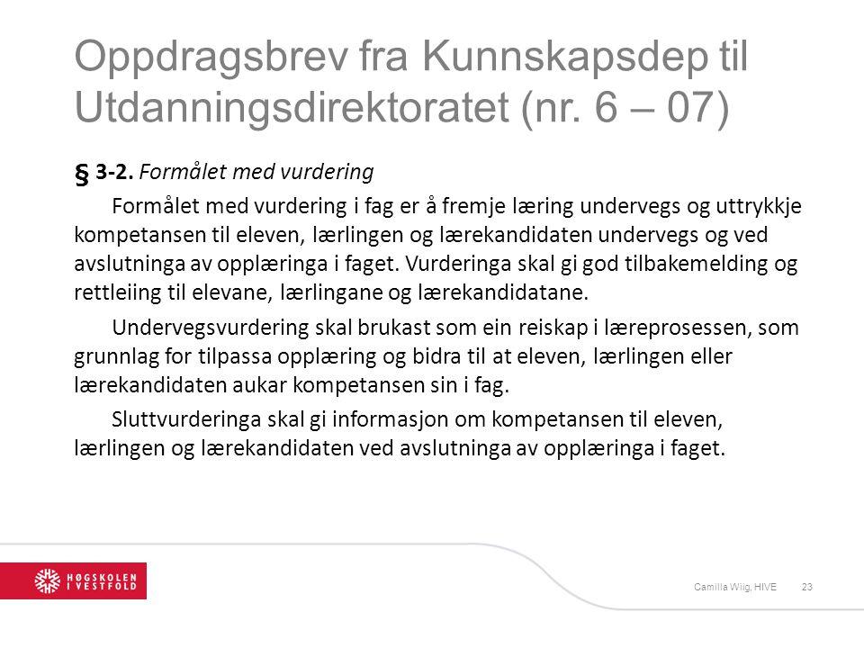 Oppdragsbrev fra Kunnskapsdep til Utdanningsdirektoratet (nr. 6 – 07) § 3-2. Formålet med vurdering Formålet med vurdering i fag er å fremje læring un