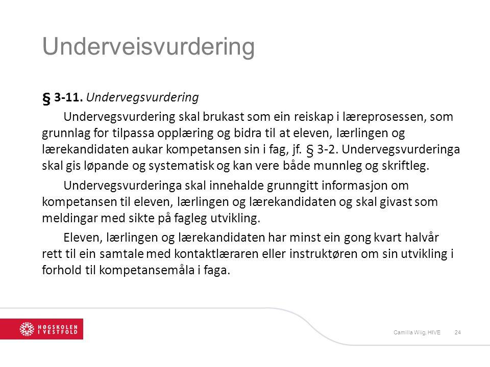 Underveisvurdering § 3-11. Undervegsvurdering Undervegsvurdering skal brukast som ein reiskap i læreprosessen, som grunnlag for tilpassa opplæring og