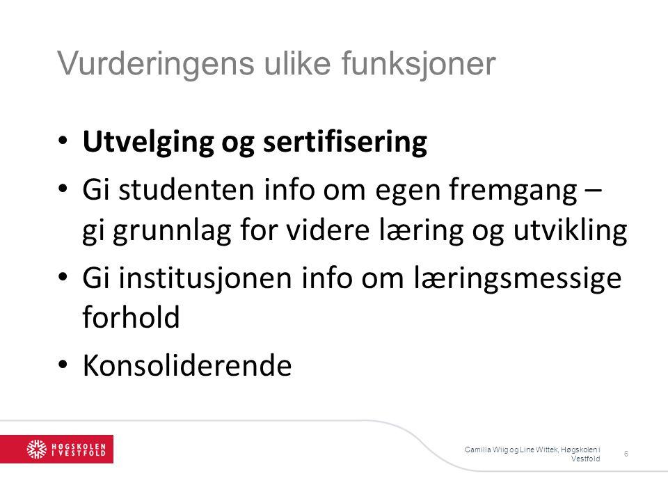 Vurderingens ulike funksjoner Camilla Wiig og Line Wittek, Høgskolen i Vestfold 6 Utvelging og sertifisering Gi studenten info om egen fremgang – gi g
