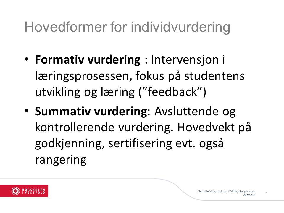 Hovedformer for individvurdering Camilla Wiig og Line Wittek, Høgskolen i Vestfold 7 Formativ vurdering : Intervensjon i læringsprosessen, fokus på st