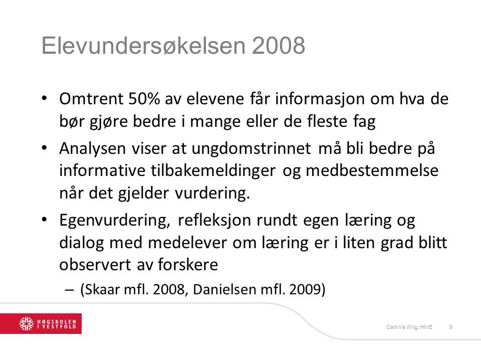 Elevundersøkelsen 2008 Omtrent 50% av elevene får informasjon om hva de bør gjøre bedre i mange eller de fleste fag Analysen viser at ungdomstrinnet m