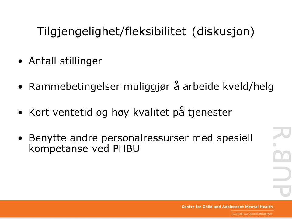 Tilgjengelighet/fleksibilitet (diskusjon) Antall stillinger Rammebetingelser muliggjør å arbeide kveld/helg Kort ventetid og høy kvalitet på tjenester