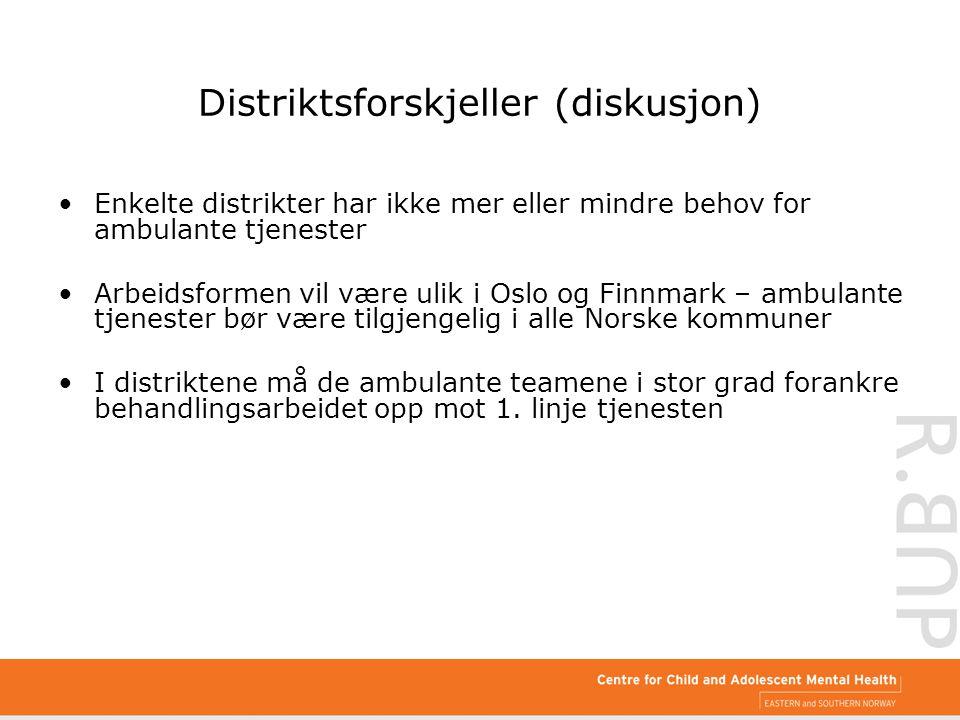 Distriktsforskjeller (diskusjon) Enkelte distrikter har ikke mer eller mindre behov for ambulante tjenester Arbeidsformen vil være ulik i Oslo og Finn