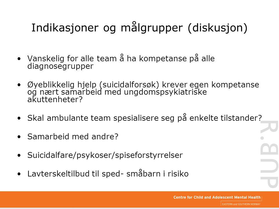 Indikasjoner og målgrupper (diskusjon) Vanskelig for alle team å ha kompetanse på alle diagnosegrupper Øyeblikkelig hjelp (suicidalforsøk) krever egen