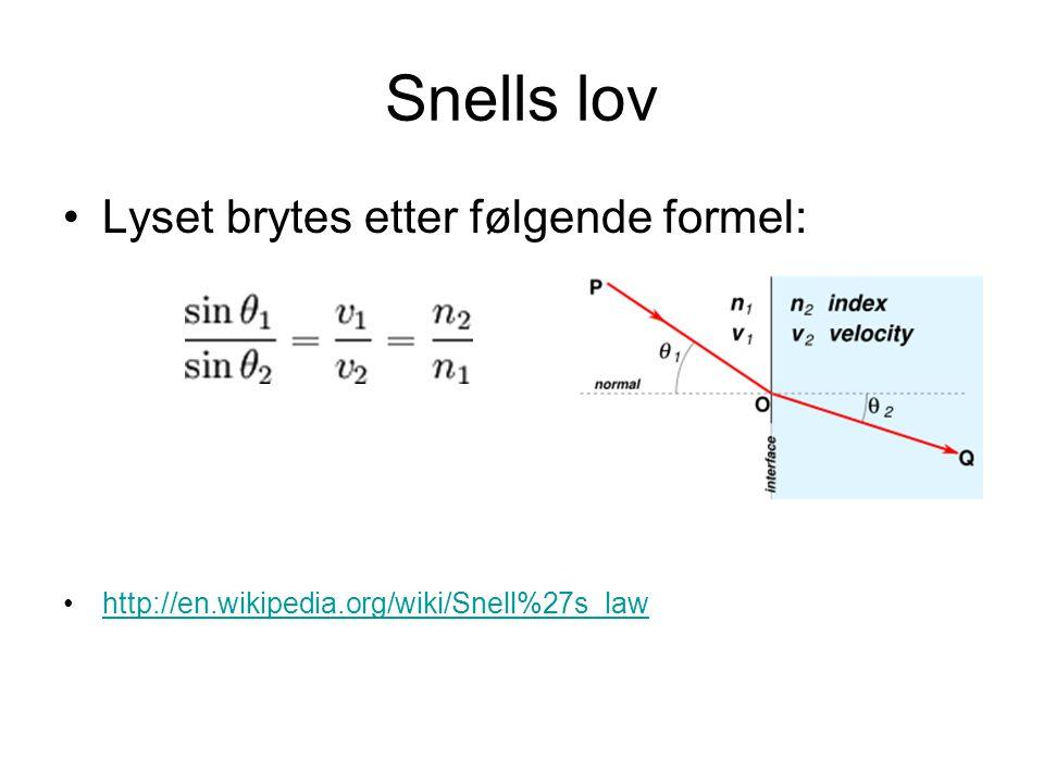 Snells lov Lyset brytes etter følgende formel: http://en.wikipedia.org/wiki/Snell%27s_law