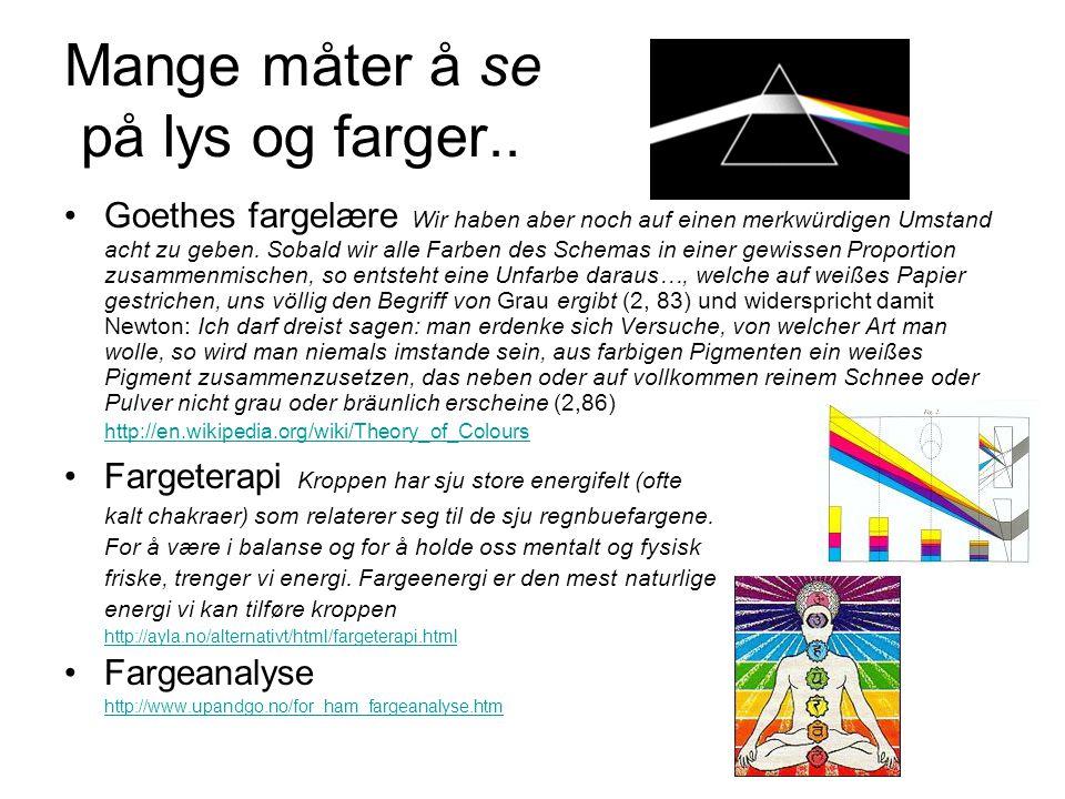 Mange måter å se på lys og farger.. Goethes fargelære Wir haben aber noch auf einen merkwürdigen Umstand acht zu geben. Sobald wir alle Farben des Sch