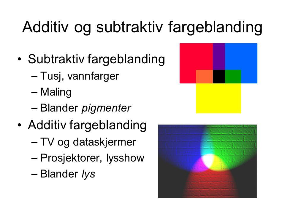 Additiv og subtraktiv fargeblanding Subtraktiv fargeblanding –Tusj, vannfarger –Maling –Blander pigmenter Additiv fargeblanding –TV og dataskjermer –P