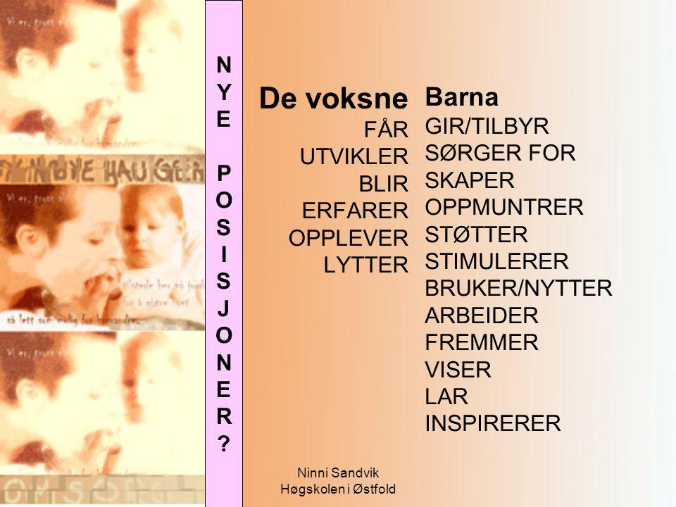 Ninni Sandvik Høgskolen i Østfold De voksne FÅR UTVIKLER BLIR ERFARER OPPLEVER LYTTER Barna GIR/TILBYR SØRGER FOR SKAPER OPPMUNTRER STØTTER STIMULERER