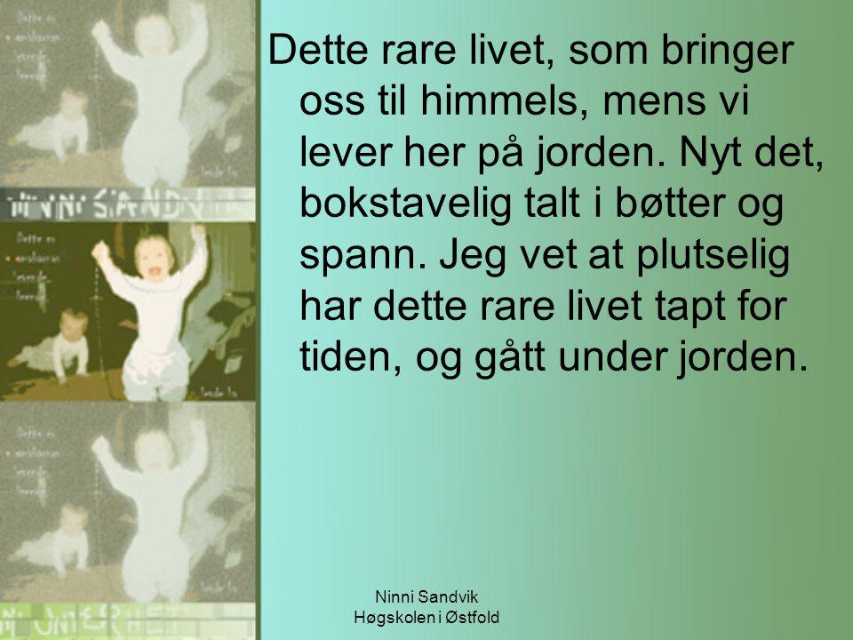 Ninni Sandvik Høgskolen i Østfold Dette rare livet, som bringer oss til himmels, mens vi lever her på jorden. Nyt det, bokstavelig talt i bøtter og sp