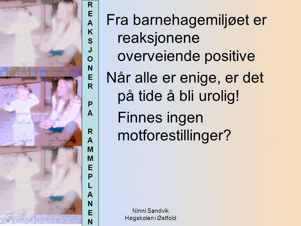 Ninni Sandvik Høgskolen i Østfold Fra barnehagemiljøet er reaksjonene overveiende positive Når alle er enige, er det på tide å bli urolig! Finnes inge
