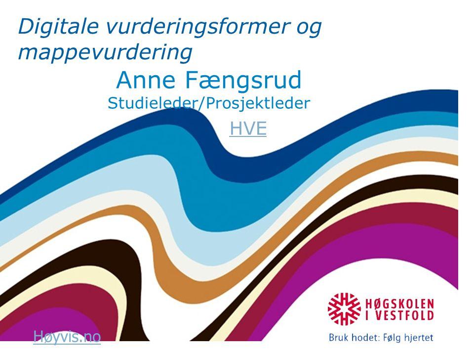 Høyvis.no Digitale vurderingsformer og mappevurdering Anne Fængsrud Studieleder/Prosjektleder HVE
