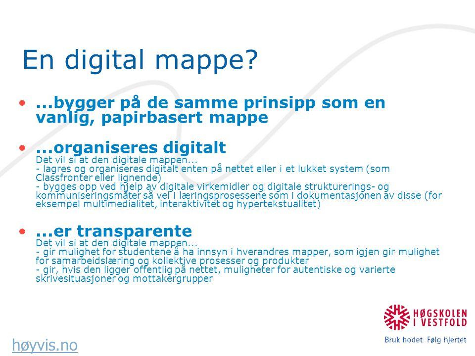 høyvis.no En digital mappe?...bygger på de samme prinsipp som en vanlig, papirbasert mappe...organiseres digitalt Det vil si at den digitale mappen...