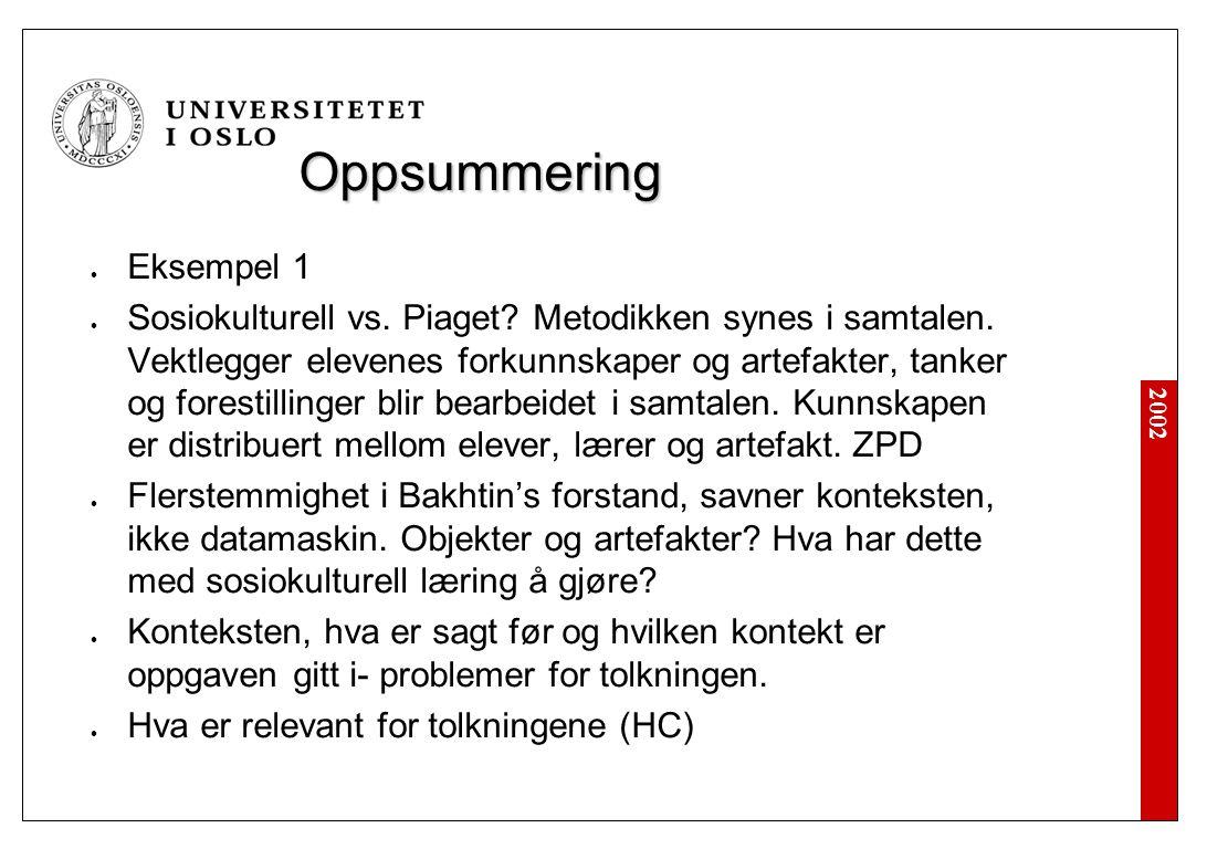 2002 Oppsummering Eksempel 1 Sosiokulturell vs. Piaget.
