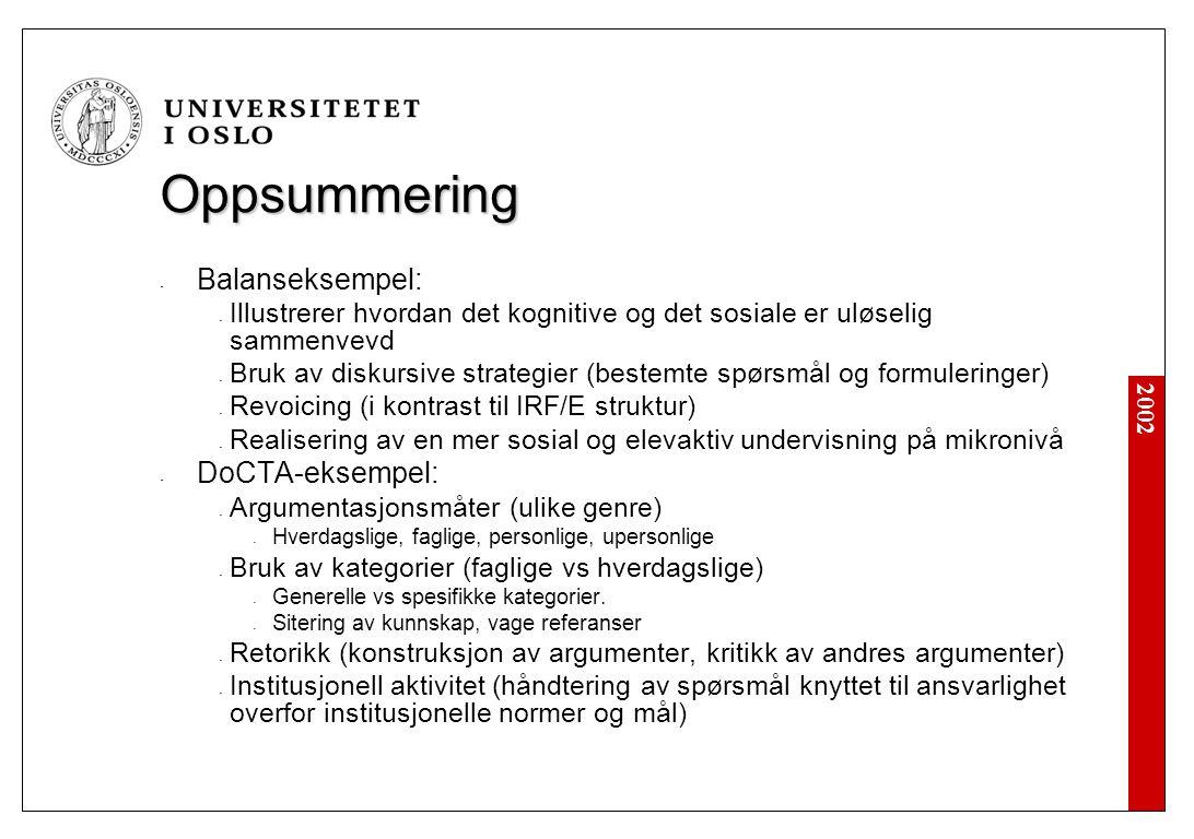 2002 Oppsummering - Balanseksempel: - Illustrerer hvordan det kognitive og det sosiale er uløselig sammenvevd - Bruk av diskursive strategier (bestemte spørsmål og formuleringer) - Revoicing (i kontrast til IRF/E struktur) - Realisering av en mer sosial og elevaktiv undervisning på mikronivå - DoCTA-eksempel: - Argumentasjonsmåter (ulike genre) - Hverdagslige, faglige, personlige, upersonlige - Bruk av kategorier (faglige vs hverdagslige) - Generelle vs spesifikke kategorier.