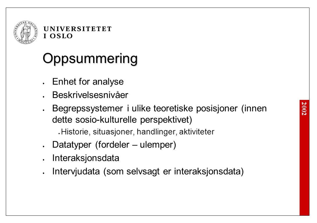 2002 Oppsummering Enhet for analyse Beskrivelsesnivåer Begrepssystemer i ulike teoretiske posisjoner (innen dette sosio-kulturelle perspektivet) Historie, situasjoner, handlinger, aktiviteter Datatyper (fordeler – ulemper) Interaksjonsdata Intervjudata (som selvsagt er interaksjonsdata)