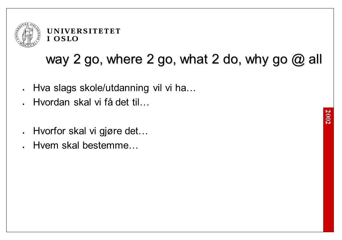 2002 way 2 go, where 2 go, what 2 do, why go @ all Hva slags skole/utdanning vil vi ha… Hvordan skal vi få det til… Hvorfor skal vi gjøre det… Hvem skal bestemme…