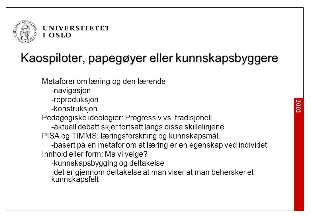 2002 Kaospiloter, papegøyer eller kunnskapsbyggere Metaforer om læring og den lærende -navigasjon -reproduksjon -konstruksjon Pedagogiske ideologier: Progressiv vs.
