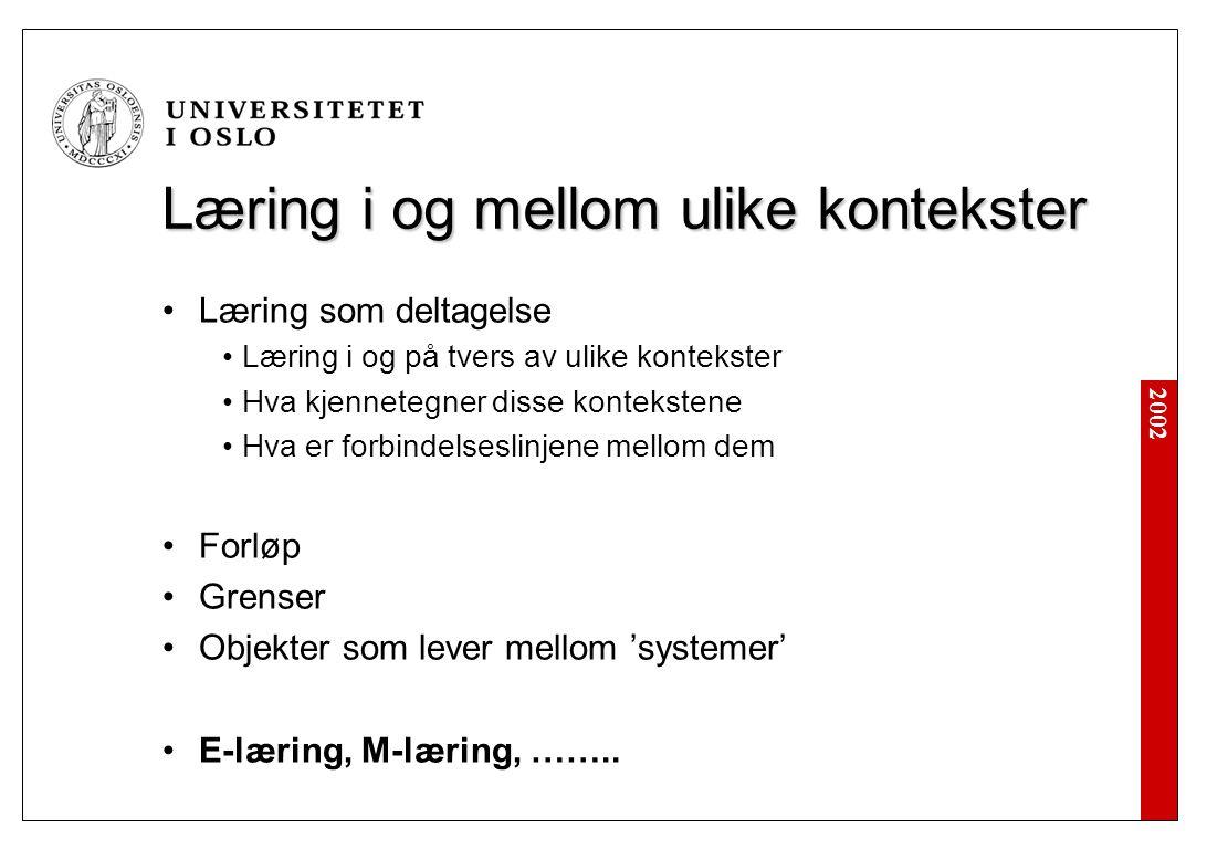 2002 Læring i og mellom ulike kontekster Læring som deltagelse Læring i og på tvers av ulike kontekster Hva kjennetegner disse kontekstene Hva er forbindelseslinjene mellom dem Forløp Grenser Objekter som lever mellom 'systemer' E-læring, M-læring, ……..