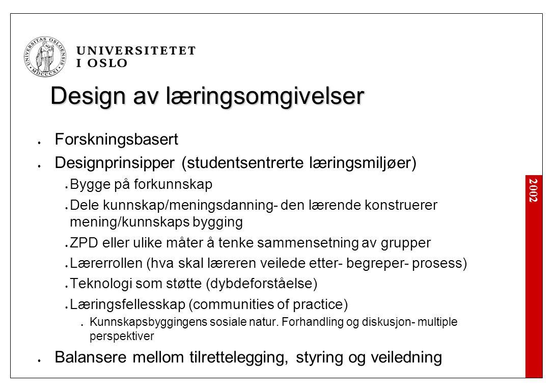 2002 Oppsummering Eksempel 1 Sosiokulturell vs.Piaget.