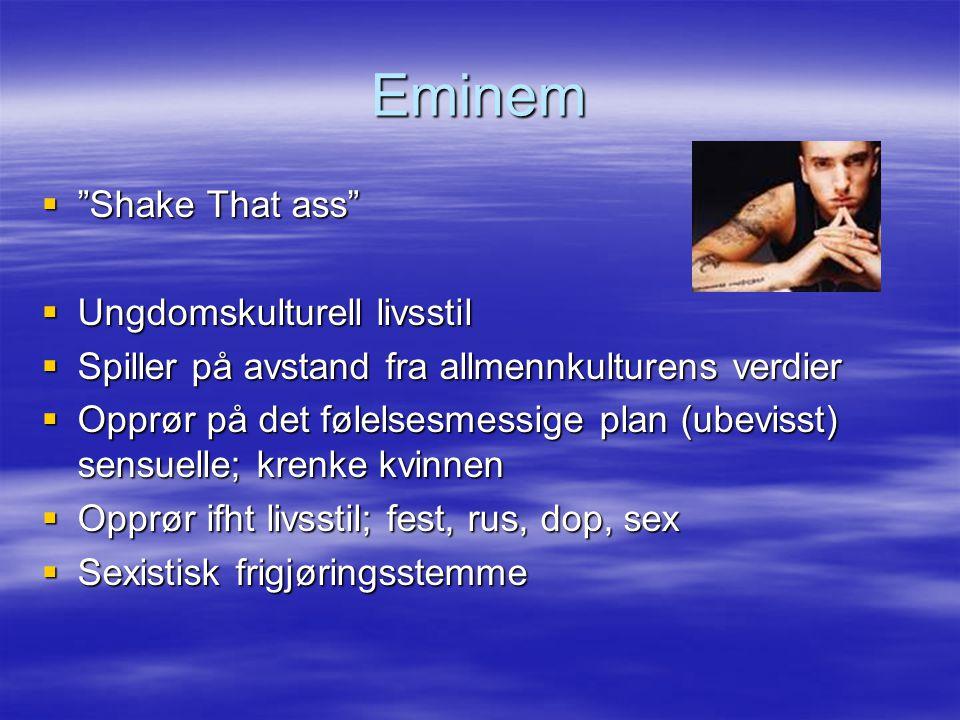 Eminem  Shake That ass  Ungdomskulturell livsstil  Spiller på avstand fra allmennkulturens verdier  Opprør på det følelsesmessige plan (ubevisst) sensuelle; krenke kvinnen  Opprør ifht livsstil; fest, rus, dop, sex  Sexistisk frigjøringsstemme