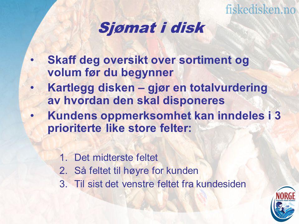 Sjømat i disk Skaff deg oversikt over sortiment og volum før du begynner Kartlegg disken – gjør en totalvurdering av hvordan den skal disponeres Kunde
