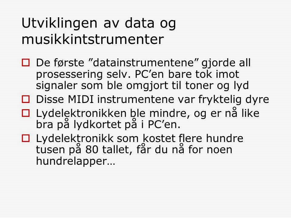 Utviklingen av data og musikkintstrumenter  De første datainstrumentene gjorde all prosessering selv.