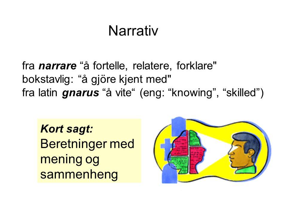 """fra narrare """"å fortelle, relatere, forklare"""