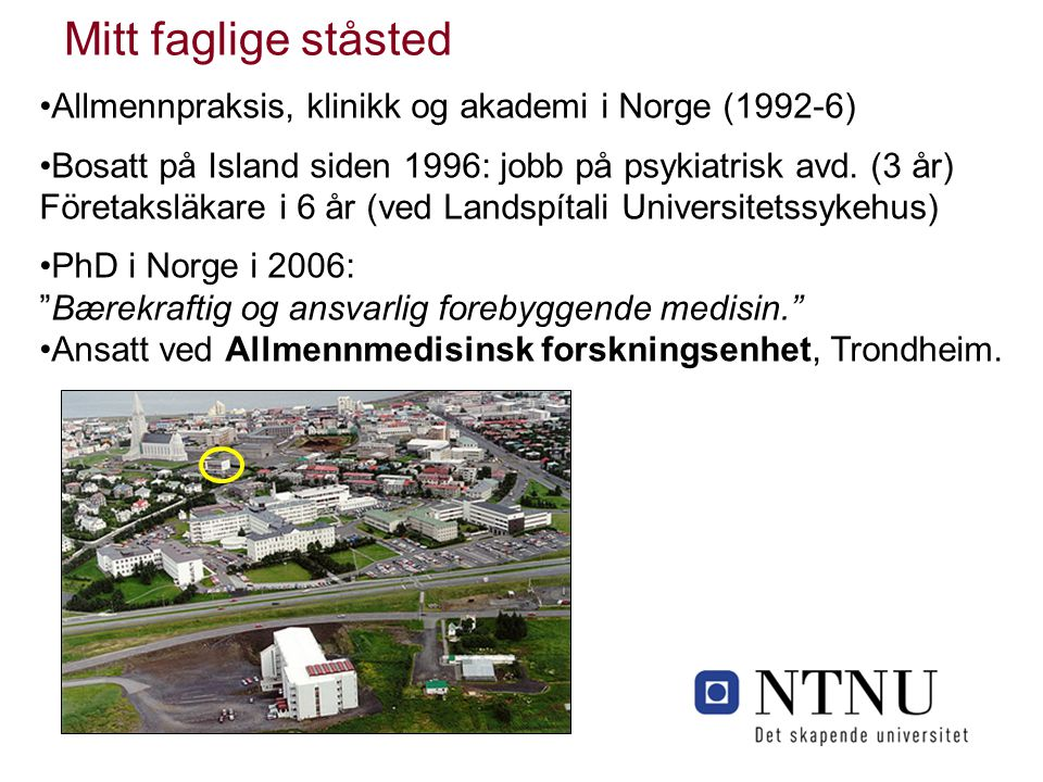 Allmennpraksis, klinikk og akademi i Norge (1992-6) Bosatt på Island siden 1996: jobb på psykiatrisk avd. (3 år) Företaksläkare i 6 år (ved Landspítal
