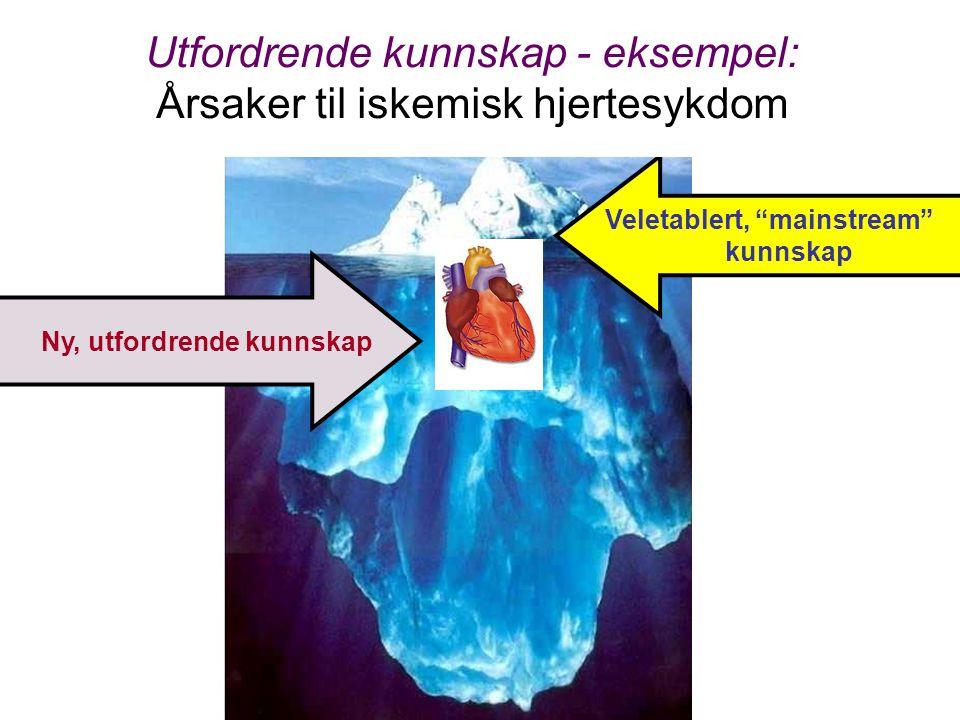 """Veletablert, """"mainstream"""" kunnskap Ny, utfordrende kunnskap Utfordrende kunnskap - eksempel: Årsaker til iskemisk hjertesykdom"""